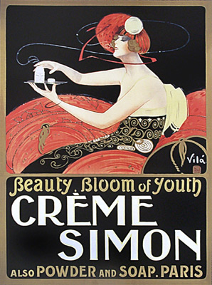 Details about VINTAGE Art Deco PERFUME CREME Poster Cosmetic